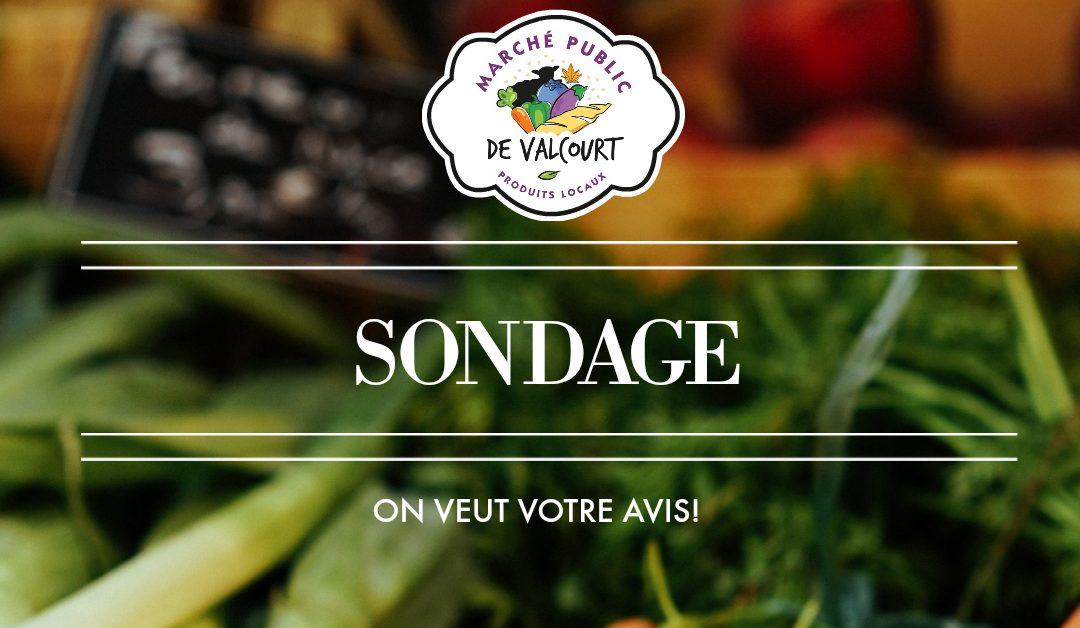 Marché public de Valcourt : sondage d'appréciation